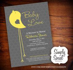 Little Bird Baby Shower Invitation Yellow and Grey Pattern.