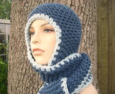 Knit Hat Womens Hat Garter Nomad Scarf Hat in Blue by pixiebell Winter Hats For Women, Hats For Men, Halloween Hats, Hooded Scarf, Scarf Hat, Winter Accessories, Knit Or Crochet, Womens Scarf, Scarf Styles
