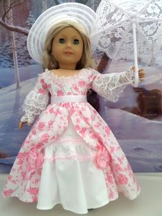 Southern Belle Ensemble Gown Petticoat Hat by JessicasDollCloset Sewing Doll Clothes, Girl Doll Clothes, Doll Clothes Patterns, Girl Dolls, Doll Patterns, Ag Dolls, Dress Patterns, American Girl Crafts, American Doll Clothes