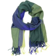 Bucasi blue green checkered scarf with fringe. Perfect for bundling up over the winter!