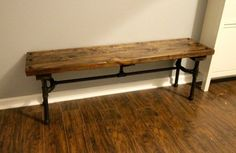 This DIY Industrial Pipe Bench was perfect for our narrow entryway next to the stairs to sit and put shoes on - Charleston Crafted