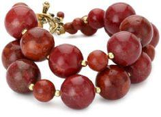"Bronzed by Barse ""Blooms"" Red Howlite Bracelet Bronzed by Barse. $78.00. Double stranded red howlite beaded bracelet. Made in Thailand. Genuine bronze, red howlite"