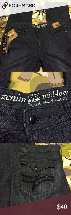 NWT Zenim denim jeans Size 16 Dark wash mid-low natural waist jeans. Classic style. Waist measures 19 across and the inseam is 35 inches long. Black gemstone embellishments on back pockets Zenim Jeans Boot Cut