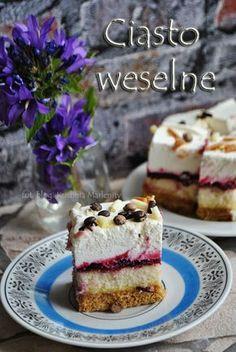 Kuchnia Marlenity: Ciasto weselne Polish Desserts, Polish Recipes, First Communion Cakes, Tasty, Yummy Food, Mini Cakes, Relleno, No Bake Cake, Cookie Recipes