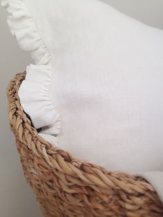 Beautiful finca white frill cushions handmade by Clarabelle Interiors for Peony and Sage