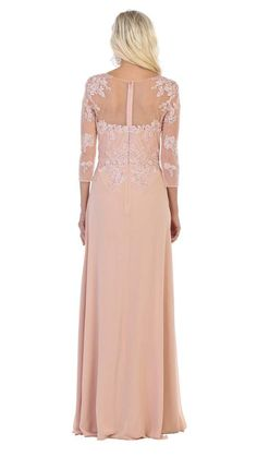 May Queen - MQ1637 Illusion Quarter Sleeve Appliqued Sheath Gown – Couture Candy Mother Of The Bride Fashion, Mother Of Bride Outfits, Designer Evening Gowns, Lace Evening Gowns, Illusion, Gowns With Sleeves, Sleeve Dresses, Perfect Prom Dress, Prom Dresses Online