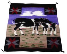 Navajo cow pictorial weaving for sale online. Navajo Rugs, Cow, 1940s, Nativity, Weaving, Home Goods, Native American, Clouds, Quilts