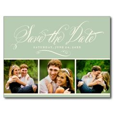 Green Photo Save the Date | Calligraphy Script Postcard