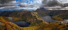 https://flic.kr/p/Qq7vdV | Cradle Mountain and lakes |  This is a panoramic view not often photographed of Cradle Mountain with the saddle and ridge of Hansons peak in the midground separating Lake Dove and Lake Hanson.