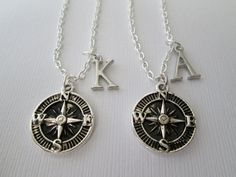 Items similar to Best Friend Necklace, 2 Compass Necklace, Initial Necklace on Etsy Bff Necklaces, Best Friend Necklaces, Best Friend Jewelry, Friendship Necklaces, Cute Necklace, Bestfriend Necklaces For 2, Locket Necklace, Initial Necklace, Fake Friends