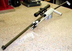 A rifle single shot that breaks down into a fishing pole and weighs 1 pound. A good survival tool.
