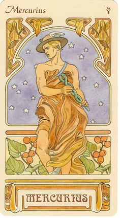 "Ruling Planet of Gemini and Virgo. Mercury.  ""art nouveau astrological oracle deck"" illustrated by antonella castelli and published by lo scarabeo"