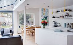 A glass extension echoes the roofline of a Victorian terrace and transforms the space within. Victorian Kitchen, Victorian Terrace, Victorian Homes, Victorian London, Kitchen Layout, New Kitchen, Kitchen Design, Kitchen Ideas, Space Kitchen