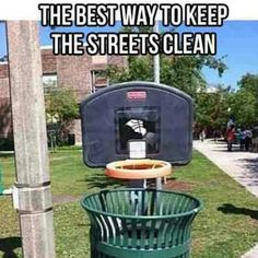 Basketball hoops as trash cans.. BEST IDEA EVER!