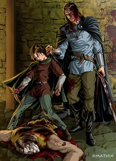 Arya stabs the Tickler over and over again in a rage until the Hound stops her - by Mathia Arkoniel