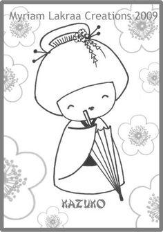 KOKESHI, dessin au feutre (pencil drawing) - Avril 2011 - Myriam Lakraa Créations (Strasbourg - France) - Peinture-modelage, le blog des créations fimo et peintures de Myriam LAKRAA