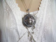 Honeybee Locket Bee Necklace Silver Honeybee by CreatedinTheWoods, $24.95