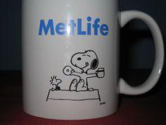 Peanuts Snoopy Met Life advertising coffee mug cup Woodstock Charlie Brown