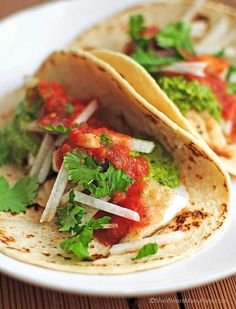 Fish Tacos with cilantro pesto and jicama