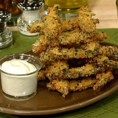 Pat And Gina Neely's Portobello Fries With Mustard Dipping Sauce - the chew - ABC.com made a version of the fries tonight- so good. I'll get all the ingredients for the sauce and fries next time!
