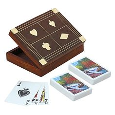 Wooden Box for Holding 2 Sets of Playing Cards Deck With Brass Inlay Decoration of Club Diamond Heart and Spade ShalinIndia http://www.amazon.com/dp/B00QGOYBW2/ref=cm_sw_r_pi_dp_dxV3vb1HKXY24