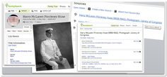 "A collage of screenshots from FamilySearch and RecordSeek showing info for Admiral Harry McLaren Pinckney Huse. Read more on the GenealogyBank blog: ""Great Family Tree Genealogy App: Tree Connect by RecordSeek."""