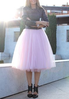 1245f2315e8 Pink Plain Draped Grenadine Puffy Tulle High Waisted Knee Length Adorable  Tutu Skirt Tylové Sukně