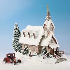 "Thomas Kinkade Hawthorne Village Christmas ""Light of Hope Church"" lighted; w/little red car. Issued CHURCH: Base = X Height = top of the steeple to the bottom of the base. 3 L x 1 W x 1 T. Shabby Chic Christmas, Victorian Christmas, Winter Christmas, Christmas Home, Christmas Lights, Christmas Village Display, Christmas Village Houses, Putz Houses, Christmas Villages"
