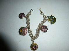 Vintage Monet Charm Bracelet Enamel Dragonfly by BathoryZ on Etsy