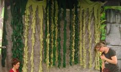Vines made out of table cloths! Great cheap idea