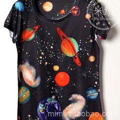 新版长袖短袖 家庭装情侣男女3D印花修身宇宙星球个性彩色t恤204