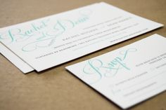Teal Script {Letterpress}  Designed and Printed by Little Peach Co.   Printing: 1-Colour Letterpress on K.W. Doggetts Wild Cotton 300gsm