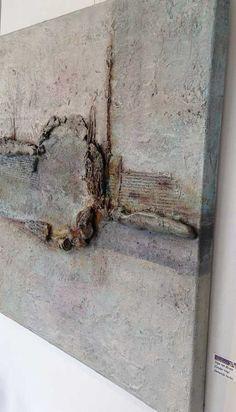 Inge van Boven : Materie schilderij met acryl. Canvas 3D doek 80/80