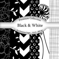 Premium Black & White Digital Paper Download BurlapandSpice 2.00 USD