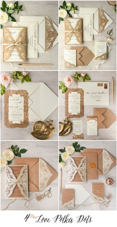Laser cut lace rustic wedding invitations 4lovepolkadots #sponsored