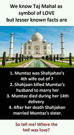 Truth of Taj Mahal Wow Facts, Real Facts, Wtf Fun Facts, Funny Facts, True Interesting Facts, Interesting Facts About World, Intresting Facts, Interesting Stuff, General Knowledge Facts