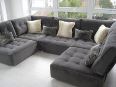 Lush flexible modular open plan space lounging. The fabric is Houles - Dandy 'snakeskin' fabric - with furry cushions :-)