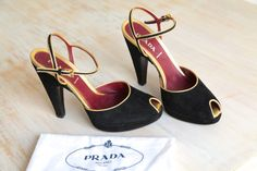 Prada Black and Gold Peep Toe Suede Size 38 by LaDonnaPrive