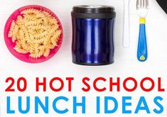 20 Easy Hot School Lunch Ideas for Kids! How to keep food hot in a Thermos and simple back to school lunch tips for kids who don't like sandwiches. Cheap School Lunches, School Lunch Recipes, Kids Lunch For School, Healthy Lunches For Kids, Lunch Box Recipes, Kids Meals, Lunch Kids, Cold Lunches, Prepped Lunches