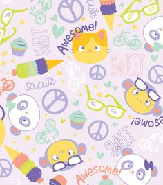 So Cute Flannel Fabric - kawaii inspired purple fabric with animal faces, peace signs, hearts,  ice cream cones, cupcakes by the yard. $6.50, via Etsy.