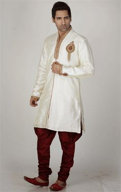 Picture of Adorable Cream Color Wedding Sherwani