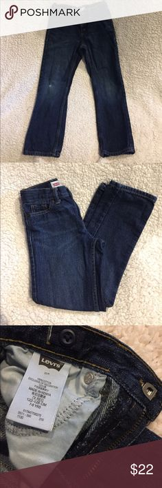 PRICE DROP 💣 Boys Levi 511 Jeans Beautiful Dark wash boys Levi 511 Slim fit size 7x hook closure jeans. Sizable waist as shown in pictures. Very soft denim in great shape. Some wear at the right knee which gives one character 😉 No holes or stains. Smoke free home. Questions encouraged. Happy Poshing. Levi's Bottoms Jeans