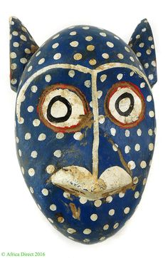 Bozo Mask Blue Spotted With Ears Mali African ART | eBay