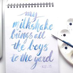 @rebeccafeinerdesign WIP - my piece for the @flickcm milkshake zine #shakennotstirred #milkshake #zine #typegang #todaystype #thedailytype #brushlettering #watercolourtype #kelis