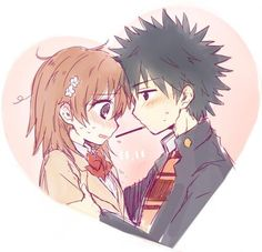 Toaru - Kamijou Touma and Misaka Mikoto art by Nae (RNO) (Sankaku Channel)
