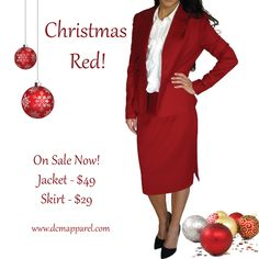 Christmas Red Jacket and Skirt - perfect for the holiday season! Jacket on sale for $49; Skirt on sale for $29  Purchase HERE: http://dcmapparel.com/cart/red-suit-jacket-p-458.html