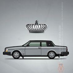 "Volvo 262C Bertone (1978) – Illustration of a silver Volvo 262c Bertone / 200 Series ""Brick"" two door sedan coupe with black vinyl roof and North American headlights #VolvoLove #VolvoNation | Pixels.com"
