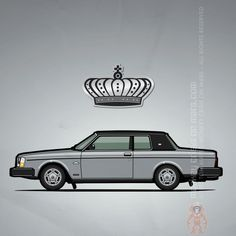 "Volvo 262C Bertone (1978) – Illustration of a silver Volvo 262c Bertone / 200 Series ""Brick"" two door sedan coupe with black vinyl roof and North American headlights #VolvoLove #VolvoNation 