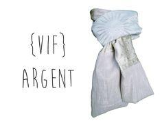 Echarpe Foulard Etole Tour de cou pour femme tissu gris argenté soleil boutique lefil : Echarpe, foulard, cravate par lefil