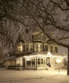 Old house, Beautiful Victorian Home on a Snowy Night ~ located in Norfolk, Nebraska